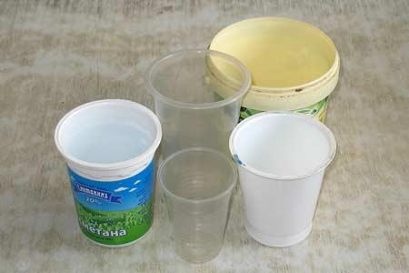 Стаканчики из-под молочных продуктов